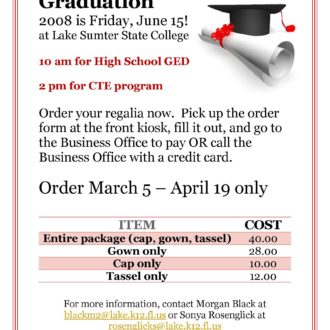 Graduation Regalia Flyer for Friday Update 330x330 Friday Update 3/2/18