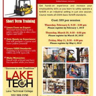 Short Term Training Forklift Certification 2018 330x330 Short Term Classes