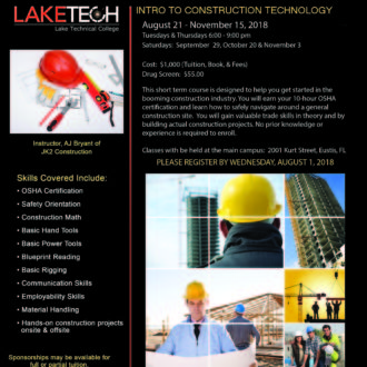 Intro to Construction Technology 330x330 Short Term Classes