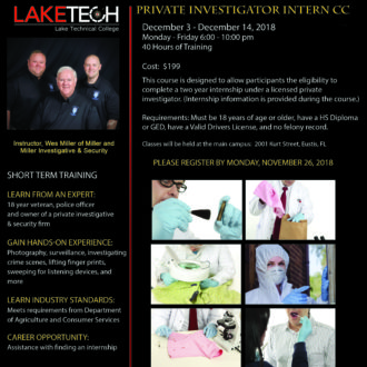 Private Investigator Intern CC 330x330 Short Term Classes