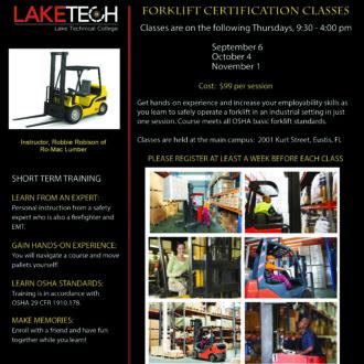 Forklift Certification 1 330x330 Short Term Classes