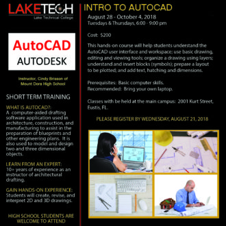 Intro to AutoCAD 330x330 Short Term Classes