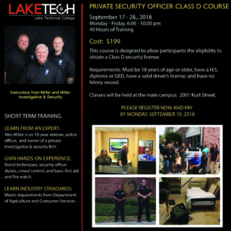 Private Security Officer Class D 330x330 Short Term Classes