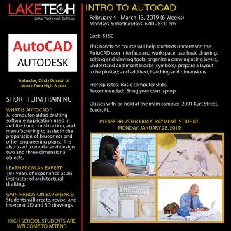 AutoCAD Flyer Spring 2019 330x330 Short Term Classes