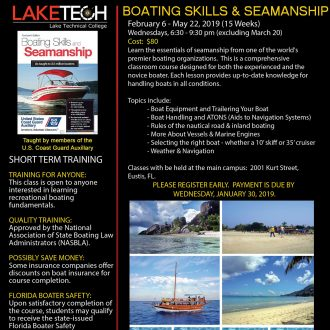 Boating Skills Flyer Spring 2019 330x330 Short Term Classes
