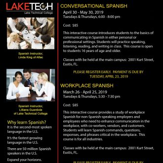 Conversational and Workplace Spanish Flyer Spring 2019 330x330 Short Term Classes