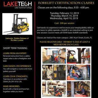 Forklift Certification Flyer Spring 2019 330x330 Short Term Classes