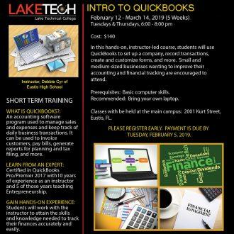 QuickBooks Flyer Spring 2019 330x330 Short Term Classes