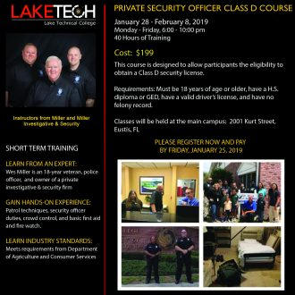 Security Guard Course Flyer Spring 2019 330x330 Short Term Classes