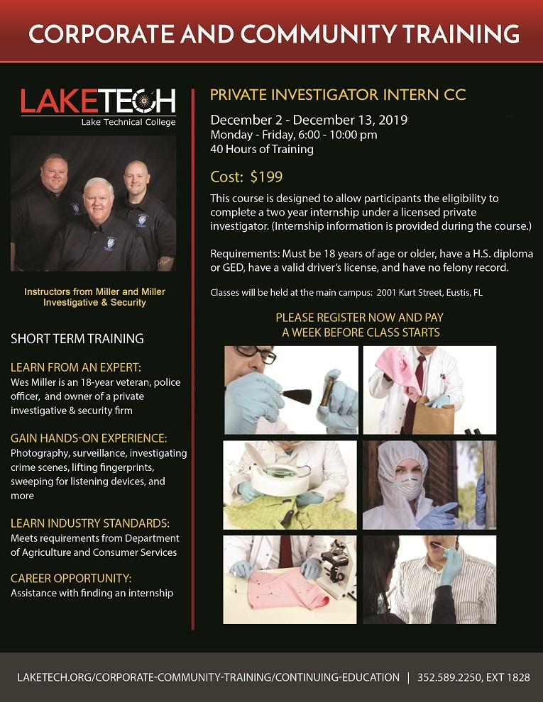 060519 PI Course Flyer Fall 2019 lb Private Investigator Intern CC