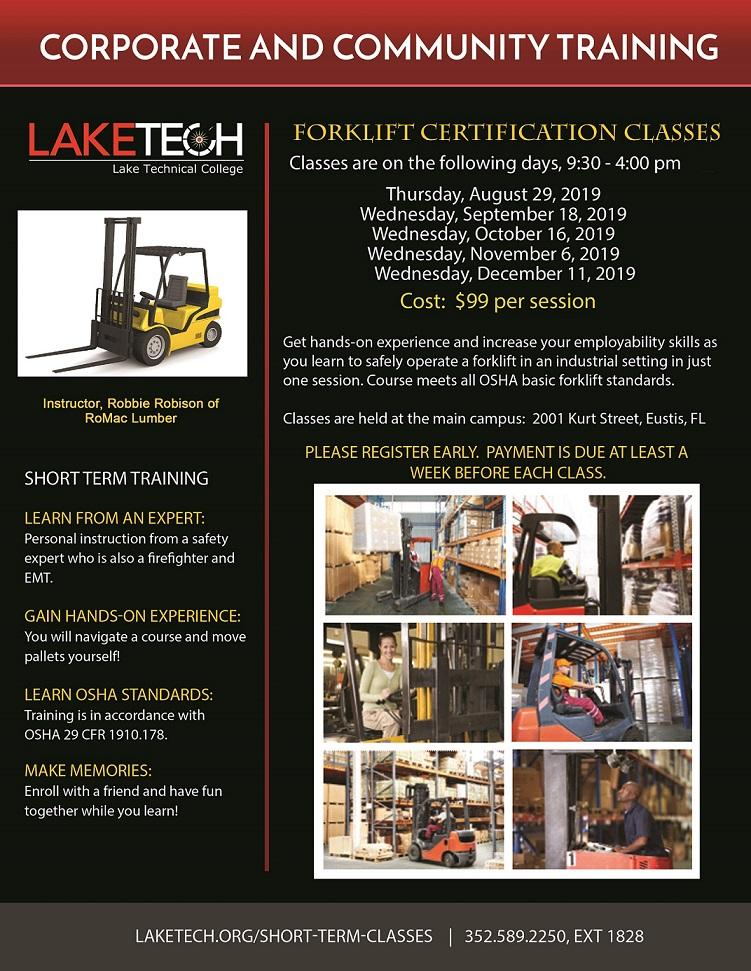 061019 Forklift Certification Flyer Fall 2019 lb Forklift Certification Classes