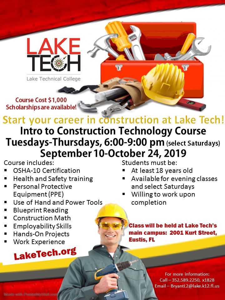 Construction Flyer Fall 2019 Start your career in Construction!