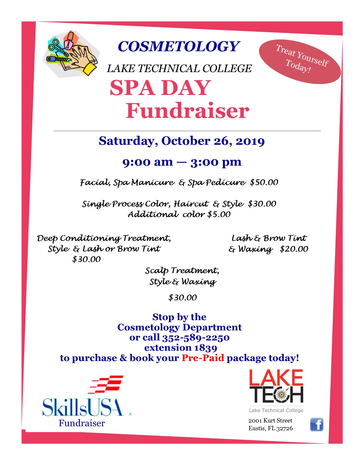 New October 2019 Cosmetology Spa Day Flyer Day Academic Affairs 10/18/19