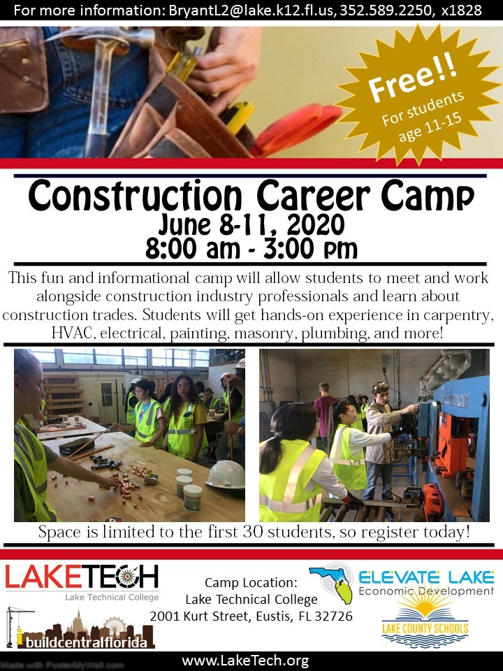 Construction Summer Camp Construction Career Camp June 2020