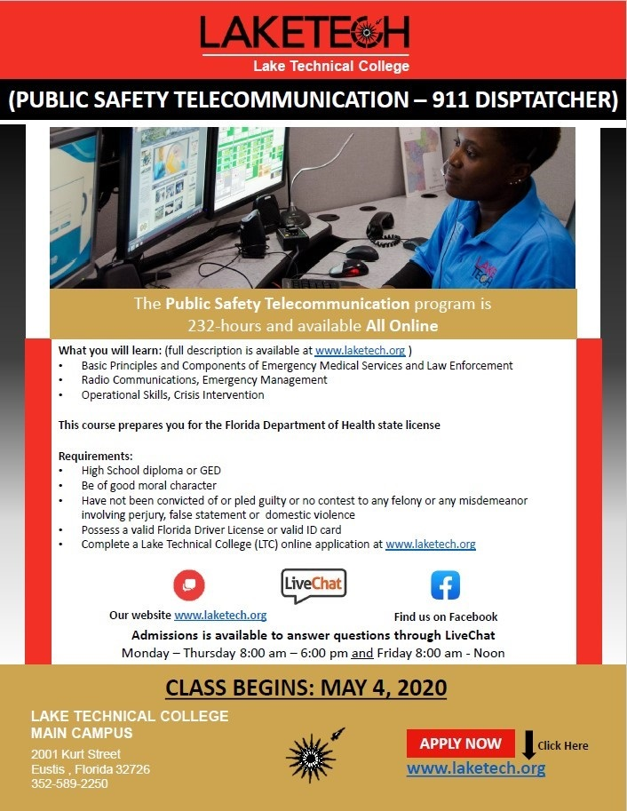 thumbnail 911 Enroll Now! Public Safety Telecommunication   911 Dispatcher
