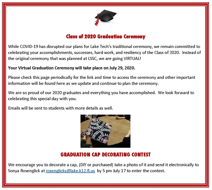Class of 2020 Graduation Ceremony Virtual Announcement Graduation