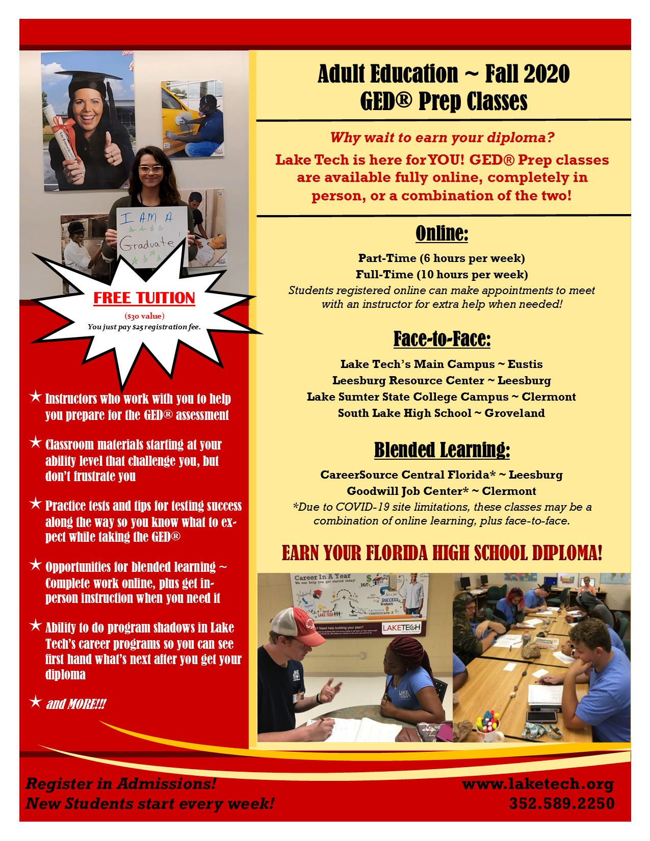 Fall 2020 GED FREE TUITION FOR ADULT EDUCATION CLASSES