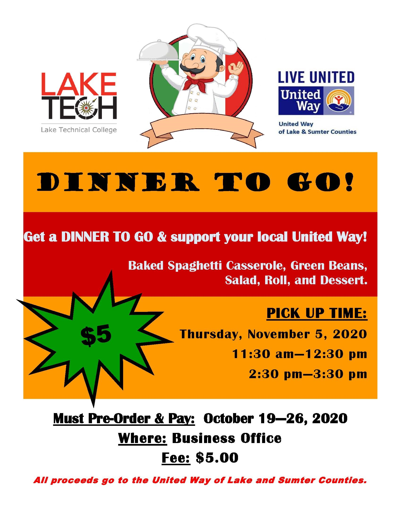 Dinner to Go Flyer 100920 On Campus and In The Community ~ 10/30/20