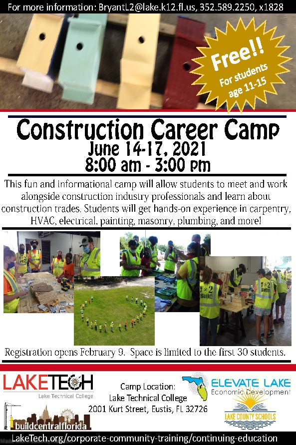Construction Summer Camp 2021 020521 Corporate and Community Training (CCT) ~ 02/05/21