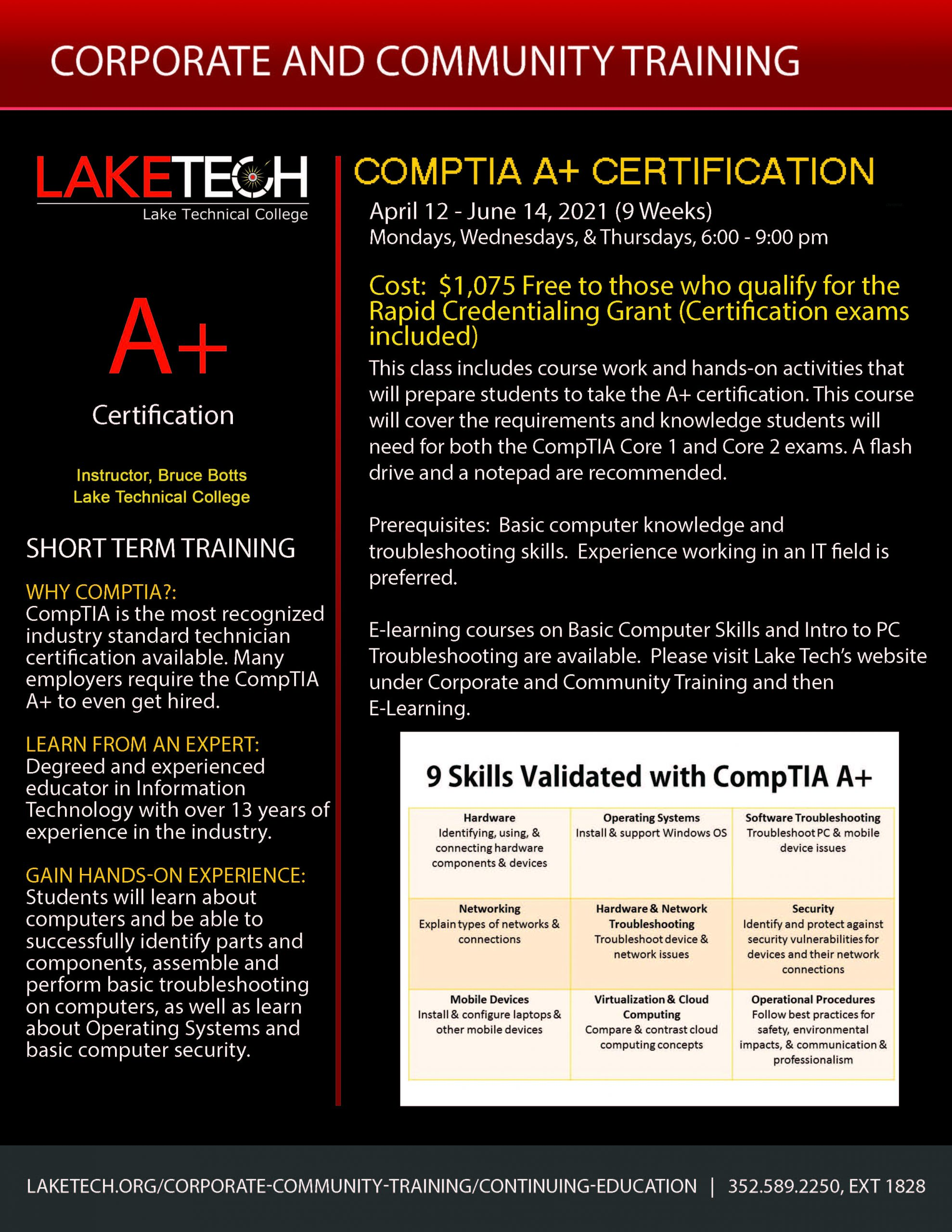 CompTIA A Flyer Spring 2021 scaled CompTIA A+ Certification ~ 04/12/21